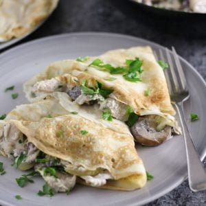 Pancakes with Creamy Garlic Chicken and Mushrooms