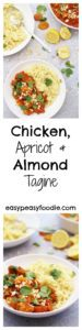 Quick, simple, healthy and tasty – these are some of my favourite words when it comes to food and this deliciously easy Chicken, Apricot and Almond Tagine ticks all those boxes and more!