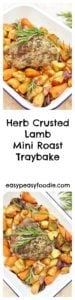 Fancy an easy peasy roast lamb dinner that's ready in under an hour and only uses one pan? Then you have to try this delicious Herb Crusted Lamb Mini Roast Traybake - perfect for Easter lunch, Sunday lunch or even midweek! #lamb #lambminiroast #roastlamb #easter #easter2018 #easterlamb #traybake #sheetpan #sundaylunch #sundaydinner #midweekroast #easydinners #midweekmeals #familydinners #easypeasyfoodie