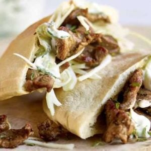 Lamb Pittas with Tzatziki