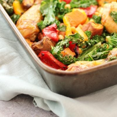 Sticky Harissa Chicken Traybake with Chickpeas and Kale