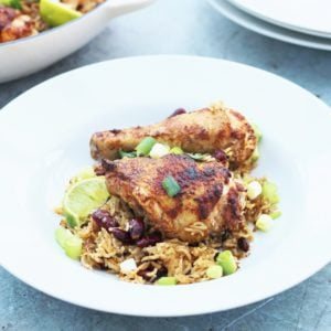 One Pot Jamaican Jerk Chicken Rice and Beans