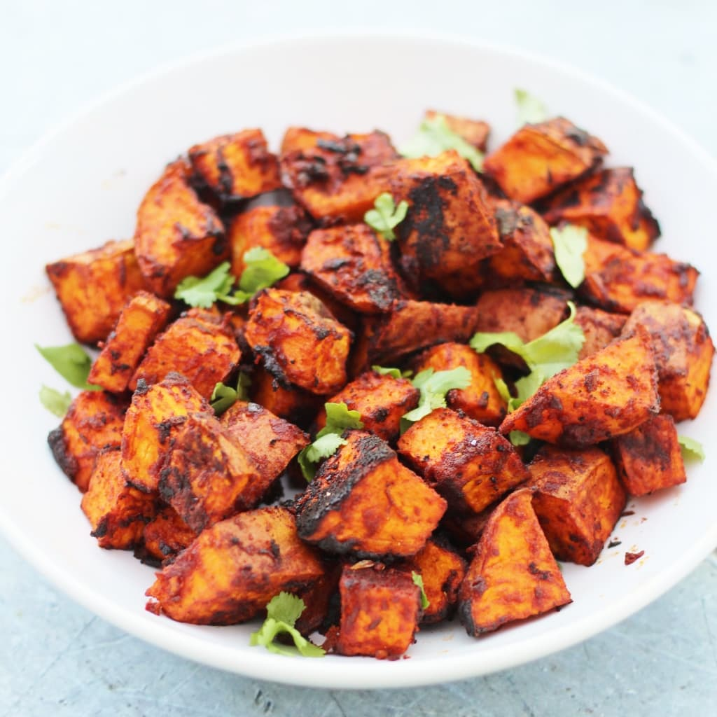 Simple Roasted Sweet Potatoes: Mexican Roasted Sweet Potato Cubes (Vegan)