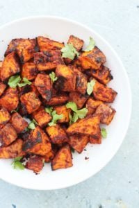 Mexican Roasted Sweet Potato Cubes Vegan Easy Peasy Foodie