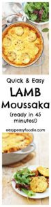 A couple of neat tricks and cheats make this Easy Lamb Moussaka quick and simple to make – but no less tasty! Make it with lamb mince or use your roast lamb leftovers.