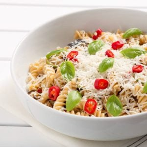Wholewheat Fusilli with Garlic, Courgettes and Pecorino Cheese