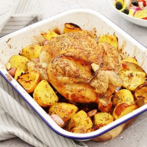 One Pan Greek Roast Chicken and Potatoes