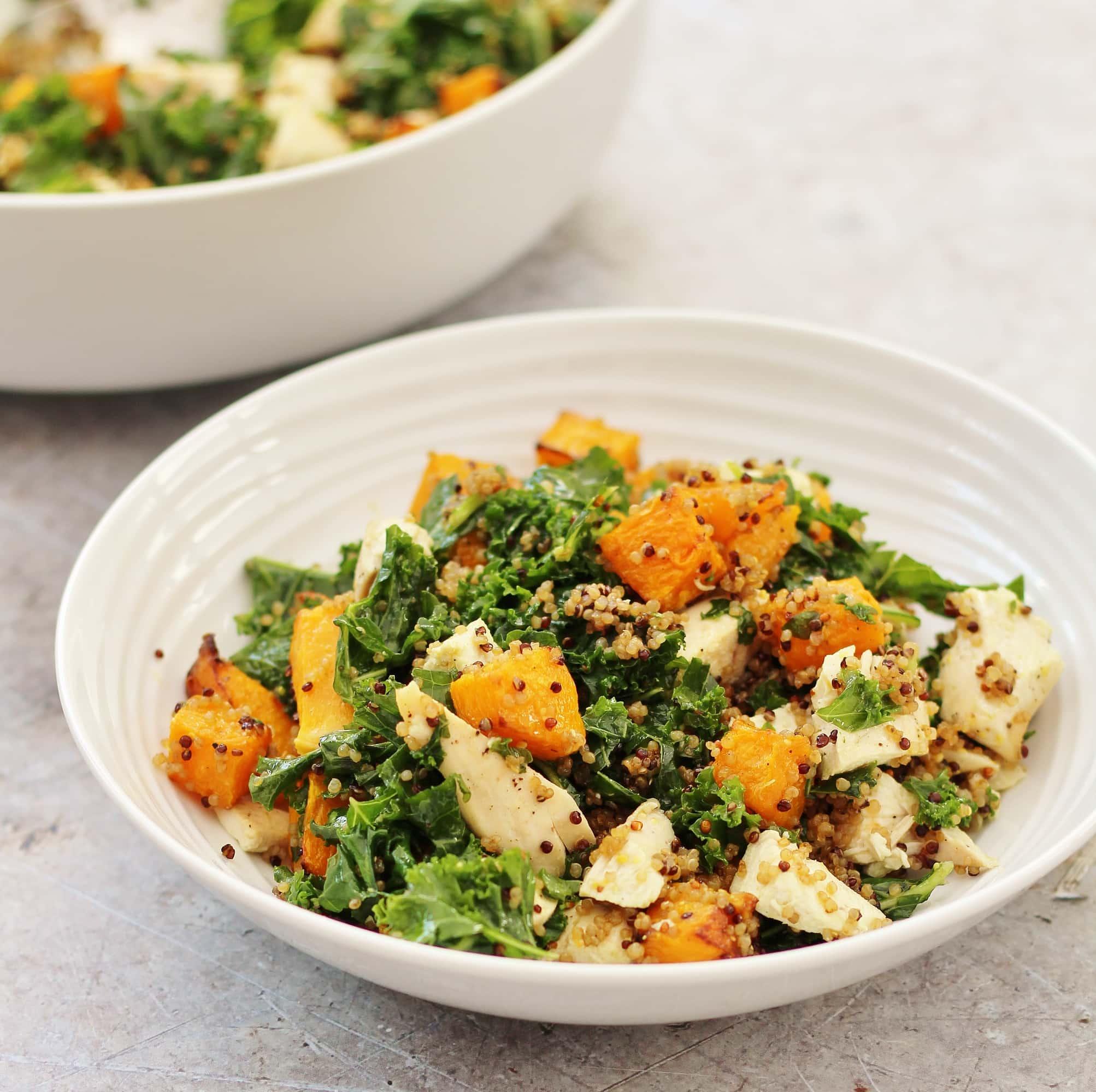 Leftover Chicken, Kale, Quinoa and Pumpkin Salad