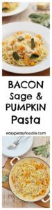 Sweet roasted pumpkins, salty bacon, earthy sage and a garlicky cream sauce all wrapped round linguine pasta…this Bacon, Sage and Pumpkin Pasta will have you licking the plate and wishing you had made more! #pumpkin #squash #bacon #sage #pasta #linguine #autumn #fall #easydinners #midweekmeals