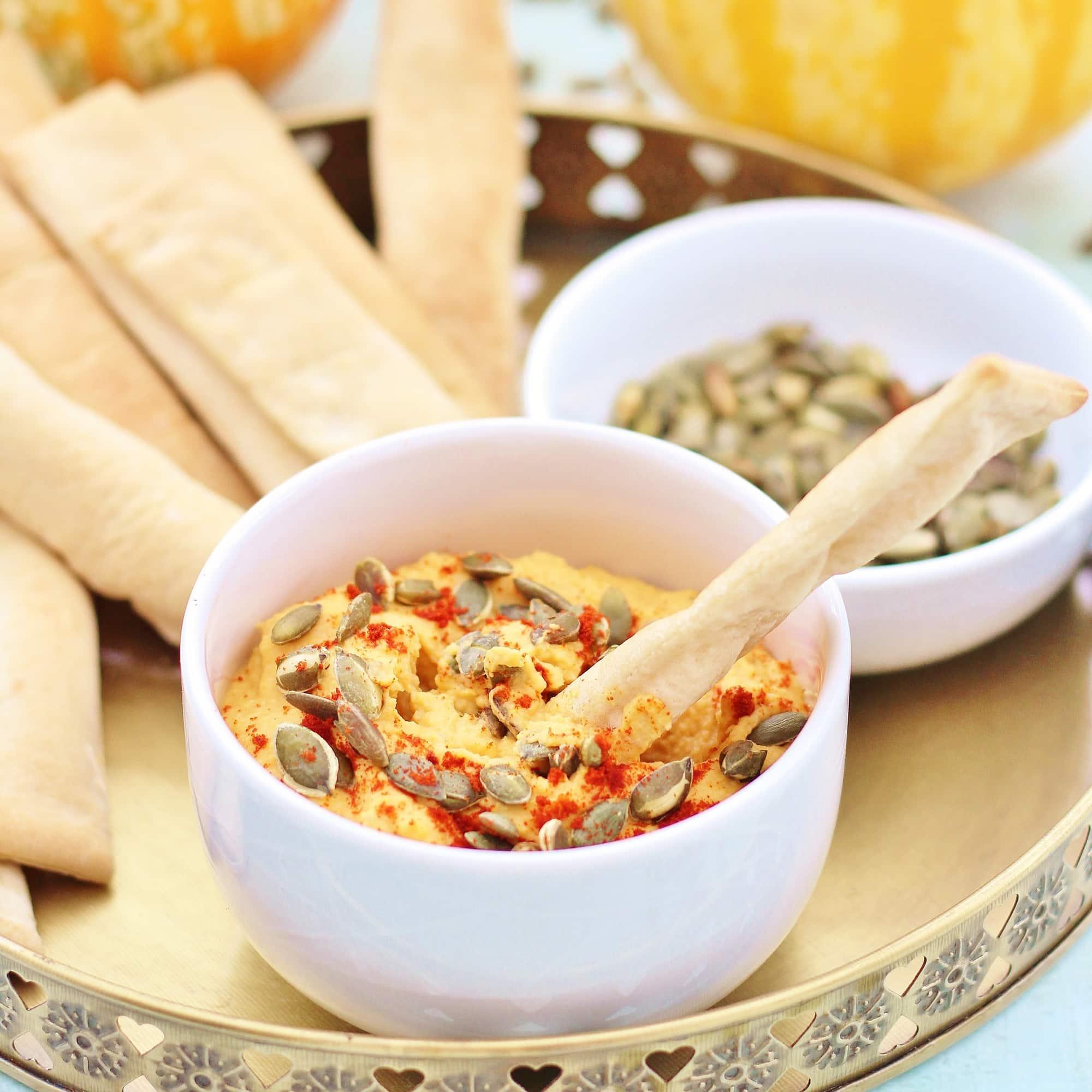 Roasted Pumpkin Hummus (Vegan) - Easy Peasy Foodie