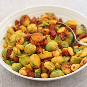 Pan Fried Sprouts with Chorizo and Almonds