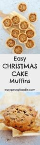 Fancy homemade Christmas cake but don't have the time? Make my Easy Christmas Cake Muffins instead! All the flavours of a traditional Christmas cake but take just 45 minutes from start to finish. As a bonus they are gluten free, nut free, alcohol free and can easily be made dairy free too – making them perfect for taking to events or feeding to children. #glutenfree #nutfree #alcoholfree #christmascake #christmasmuffins #muffins #christmas #easychristmas #easypeasyfoodie