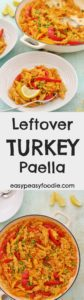 Fed up with the usual leftover turkey recipes? Then why not try my Leftover Turkey Paella? Easy to make, using just a few simple ingredients…this delicious paella can be on your table in under 30 minutes…and only uses one pot! (Perfect if you are fed up with washing up from the day before!!) #leftoverturkey #turkeyleftovers #turkey #paella #turkeypaella #christmasleftovers #spanishfood #easychristmas #easypeasyfoodie