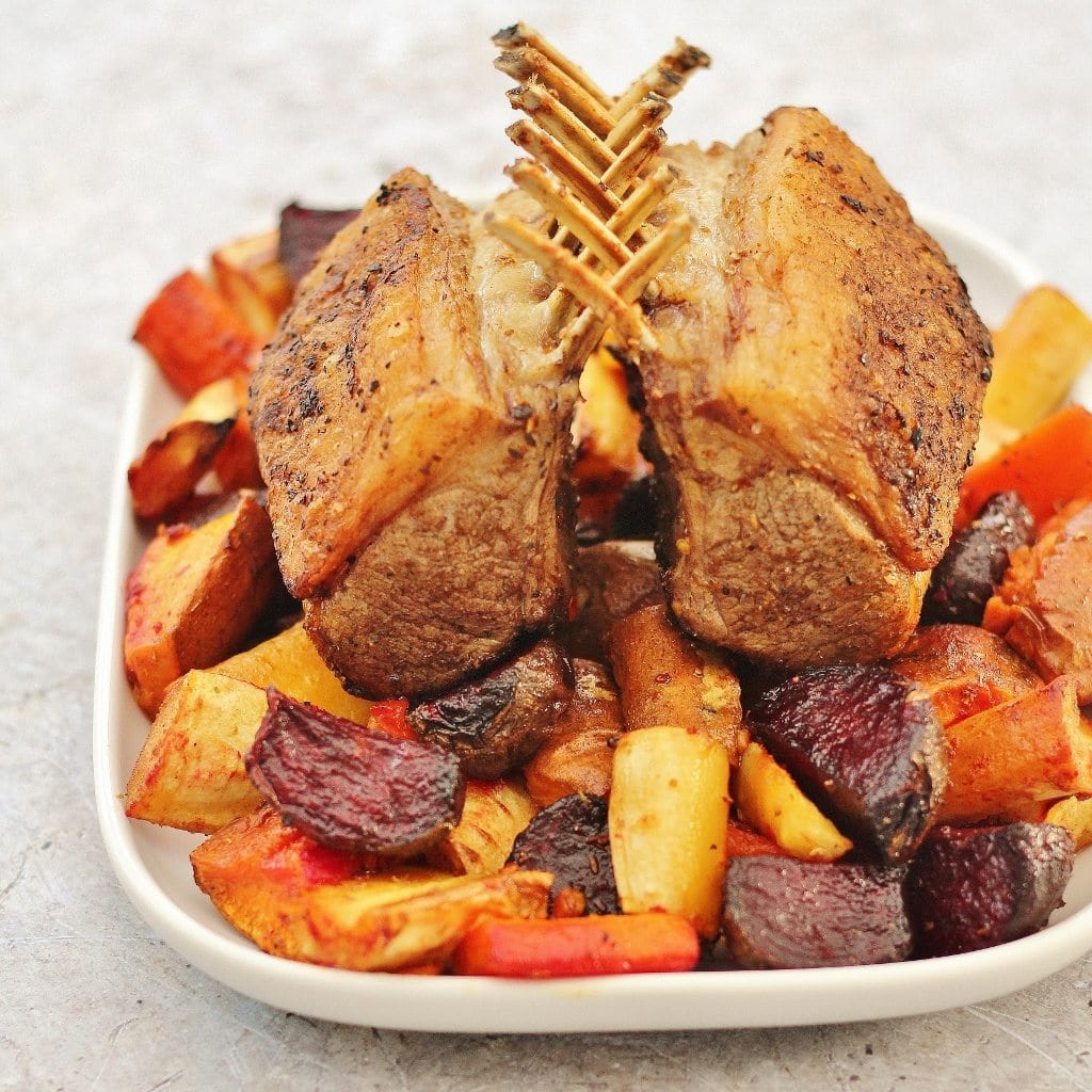 Spiced Rack of Lamb with Honey Roast Root Vegetables