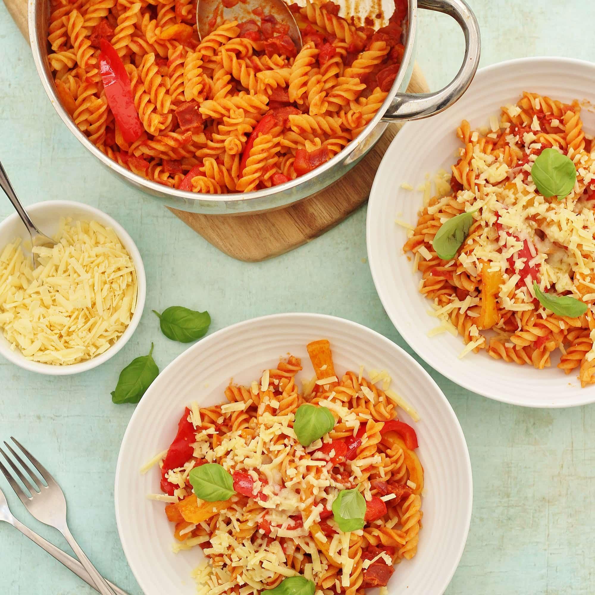 Tomato Pepper and Chorizo Pasta