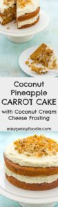 How to improve on carrot cake? Add coconut and pineapple to it! This tropical tasting Coconut Pineapple Carrot Cake with a coconut cream cheese frosting is easy to make and utterly delicious. Perfect for celebrations…or just when you fancy a bit of a treat! #carrotcake #coconut #pineapple #coconutcarrotcake #cake #eastercake #easterdessert #eastercarrotcake #tropicalcarrotcake #easterdessert #easterbaking #easybaking #easyentertaining #easypeasyfoodie