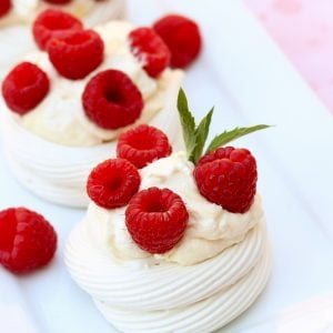 Raspberry & Lemon Curd Meringue Nests