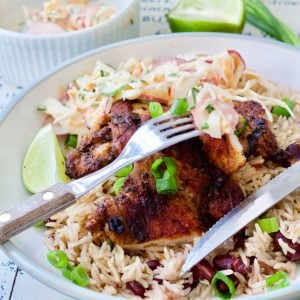 Cheat's Jerk Chicken with Rice and Peas