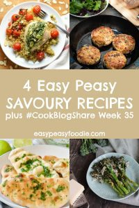 Do you prefer savoury or sweet recipes? I am firmly in the savoury camp (crisps and cheese are my vices!!). This week I am showcasing 4 delicious and very easy savoury recipes in my CookBlogShare roundup, as well as sharing the linky for #CookBlogShare week 35. #naanbread #stuffedchicken #roastedbroccoli #spicybeanburgers #easyrecipes #easypeasyfoodie