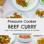 Beef curry in 40 minutes? Surely not possible? It is thanks to my new toy! This Pressure Cooker Beef Curry tastes just like my slow cooked beef curries (the ones which take hours and hours in the oven or slow cooker) but takes just 40 minutes – that's faster than it takes to get curry delivered from my local curry restaurant! #beef #curry #beefcurry #pressurecooker #pressurecooking #prestige #smartplus #prestigepressurecooker #nopressure #nopressurecooking #easyfood #quickfood #fastfood #fakeaway #currynight #curryandrice #easymeals #easydinners #midweekmeals #familyfood #familydinners #easypeasyfoodie #cookblogshare #freefromgang