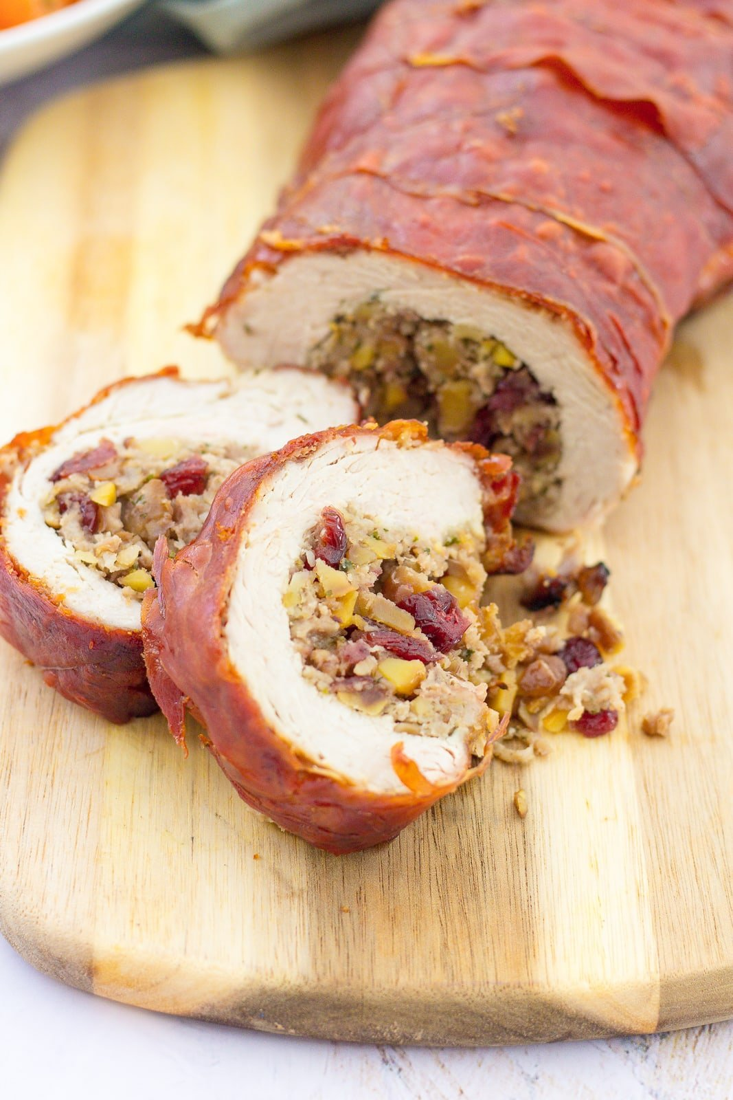 Rolled Stuffed Turkey Breast wrapped in Prosciutto