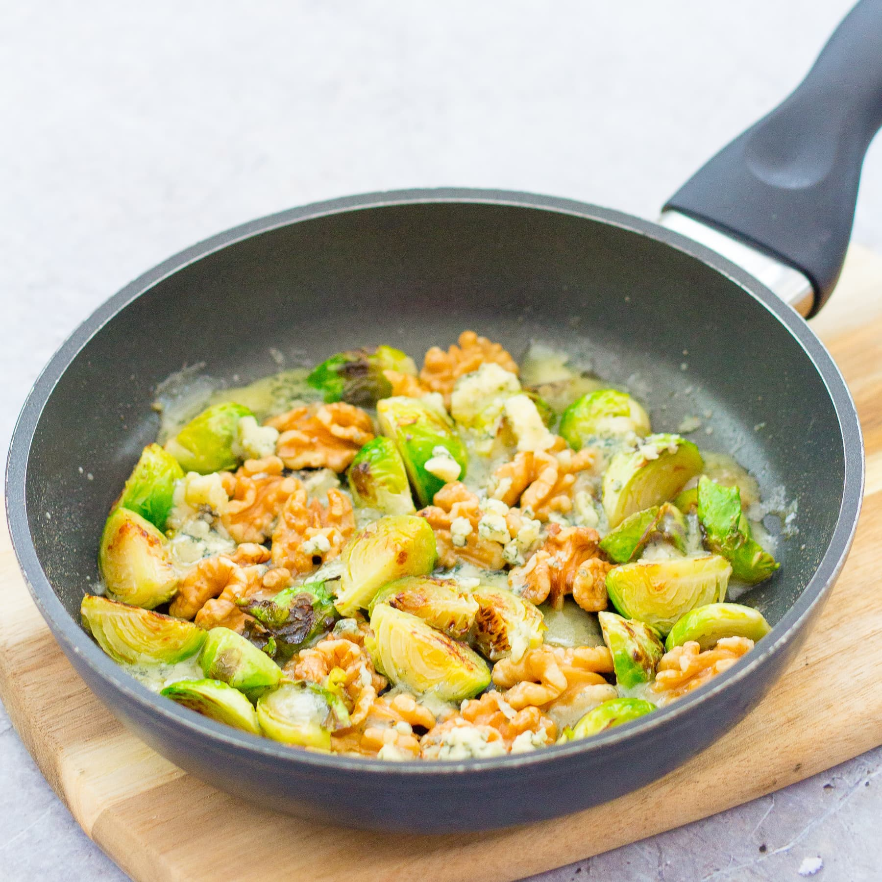 Pan Fried Sprouts with Walnuts, Honey and Stilton
