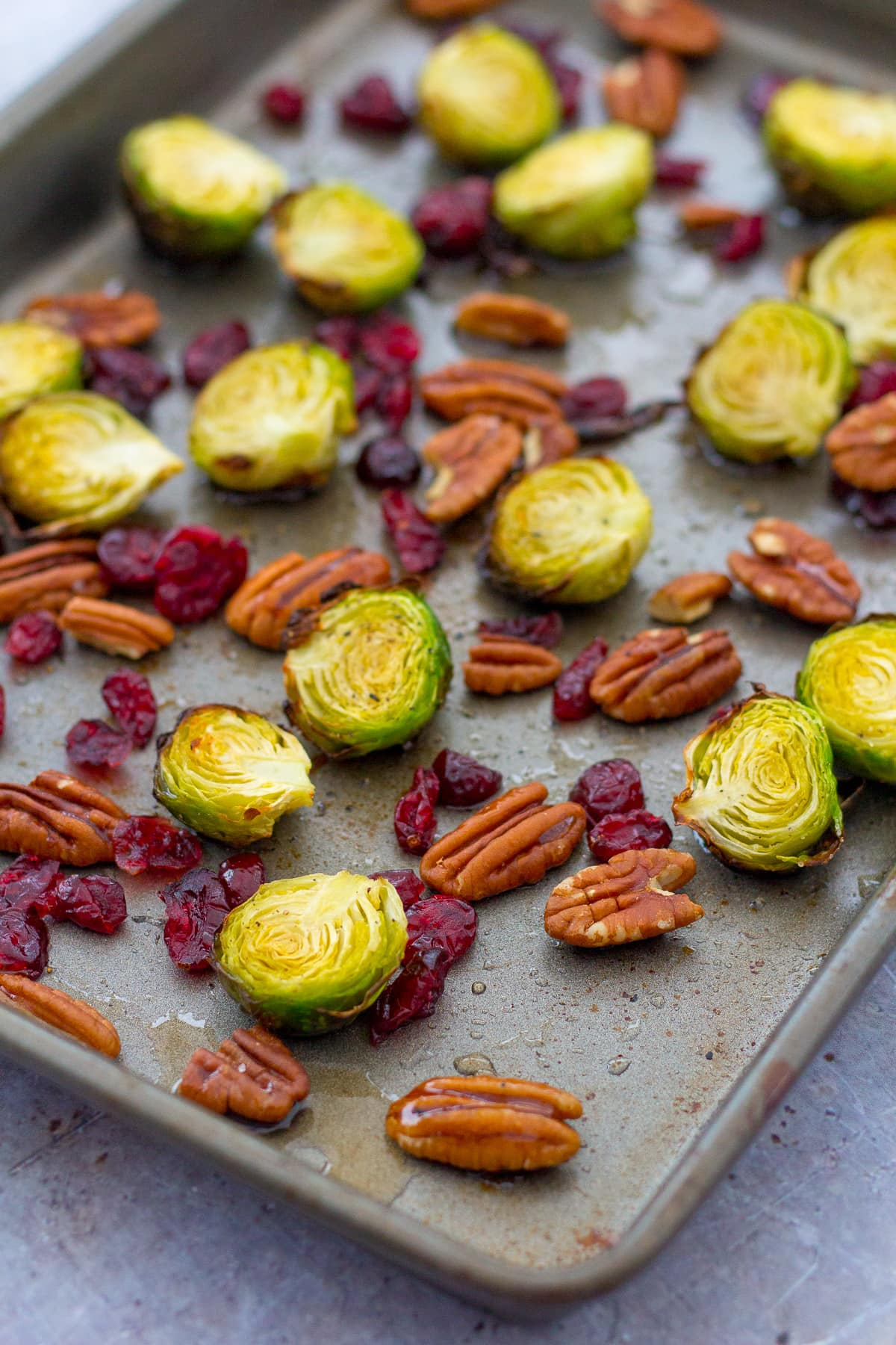 Maple Roasted Sprouts with Cranberries