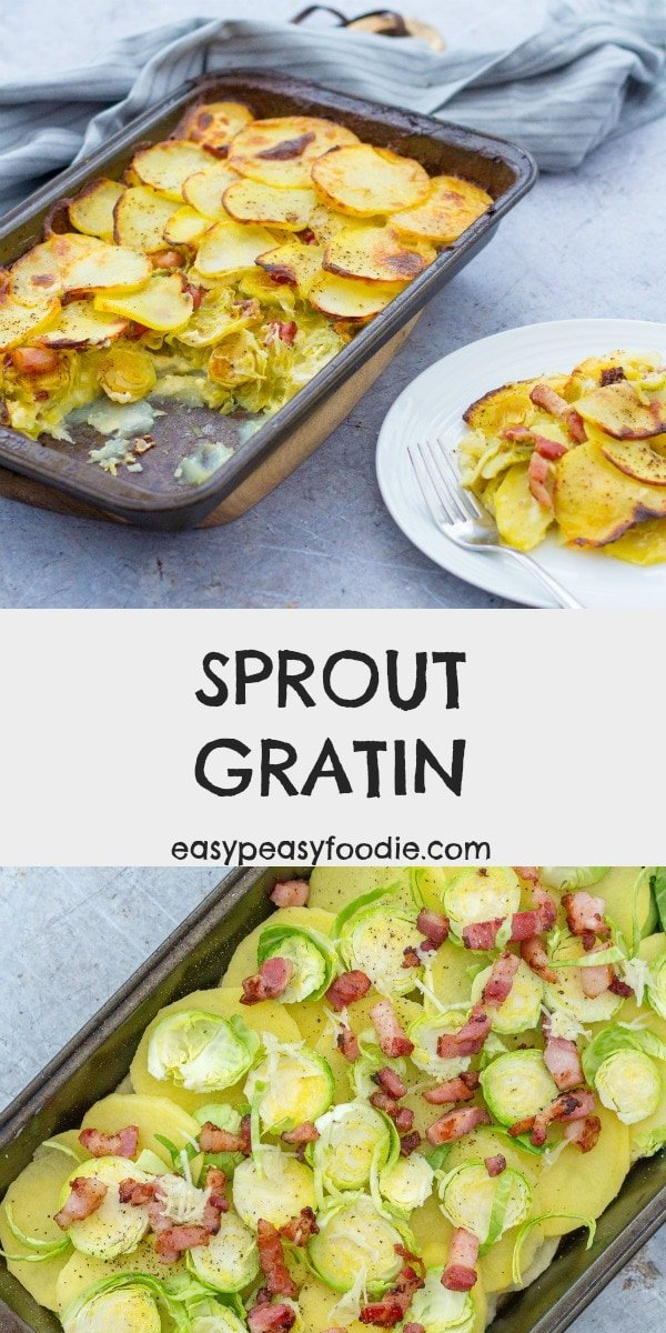Turn your Brussels sprouts into something wonderful this year by making this delicious Sprout Gratin - layers of sprouts, bacon and potatoes covered in a creamy garlicky sauce - virtually guaranteed to turn sprout haters into sprout lovers this year! #sproutgratin #gratin #dauphinoise #sprouts #brusselssprouts #sproutlover #sprouthater #ilovebrusselssprouts #easyrecipe #easysides #christmasfood #christmasdinner #christmasrecipe #easypeasyfoodie #cookblogshare #freefromgang