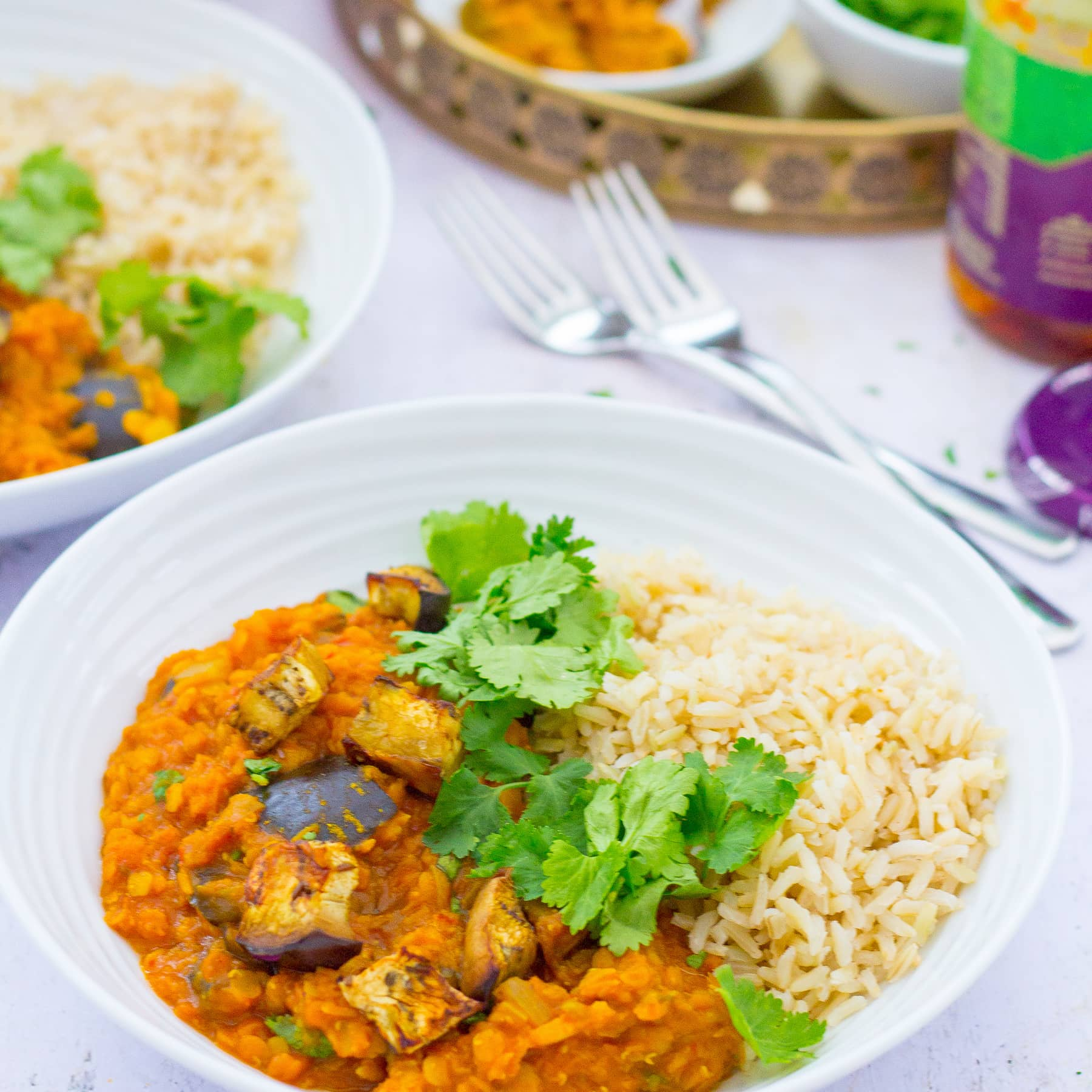 Roasted Aubergine And Red Lentil Dhal Vegan Easy Peasy Foodie