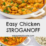 Who says stroganoff has to be made with pork or beef? This Easy Chicken Stroganoff is packed full of flavour, but super speedy to make – just 20 minutes from start to finish. Perfect for an easy peasy midweek meal! #chicken #chickenthigh #chickenbreast #chickenstroganoff #stroganoff #chickendinner #winnerwinnerchickendinner #smokedpaprika #sourcream #30minutedinners #easydinners #familydinners #midweekmeals #easypeasyfoodie #cookblogshare #freefromgang