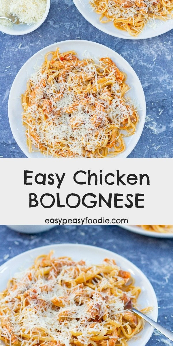 Who says Bolognese has to be made with mince? This Easy Chicken Bolognese, made with chicken thigh, is quick, easy and budget friendly – perfect for busy weeknight evenings. #chickenbolognese #chicken #bolognese #spaghettibolognese #bolognaise #linguine #chickenthigh #shreddedchicken #leftoverchicken #rotisseriechicken #easydinners #midweekmeals #familydinners #easypeasyfoodie #cookblogshare #freefromgang