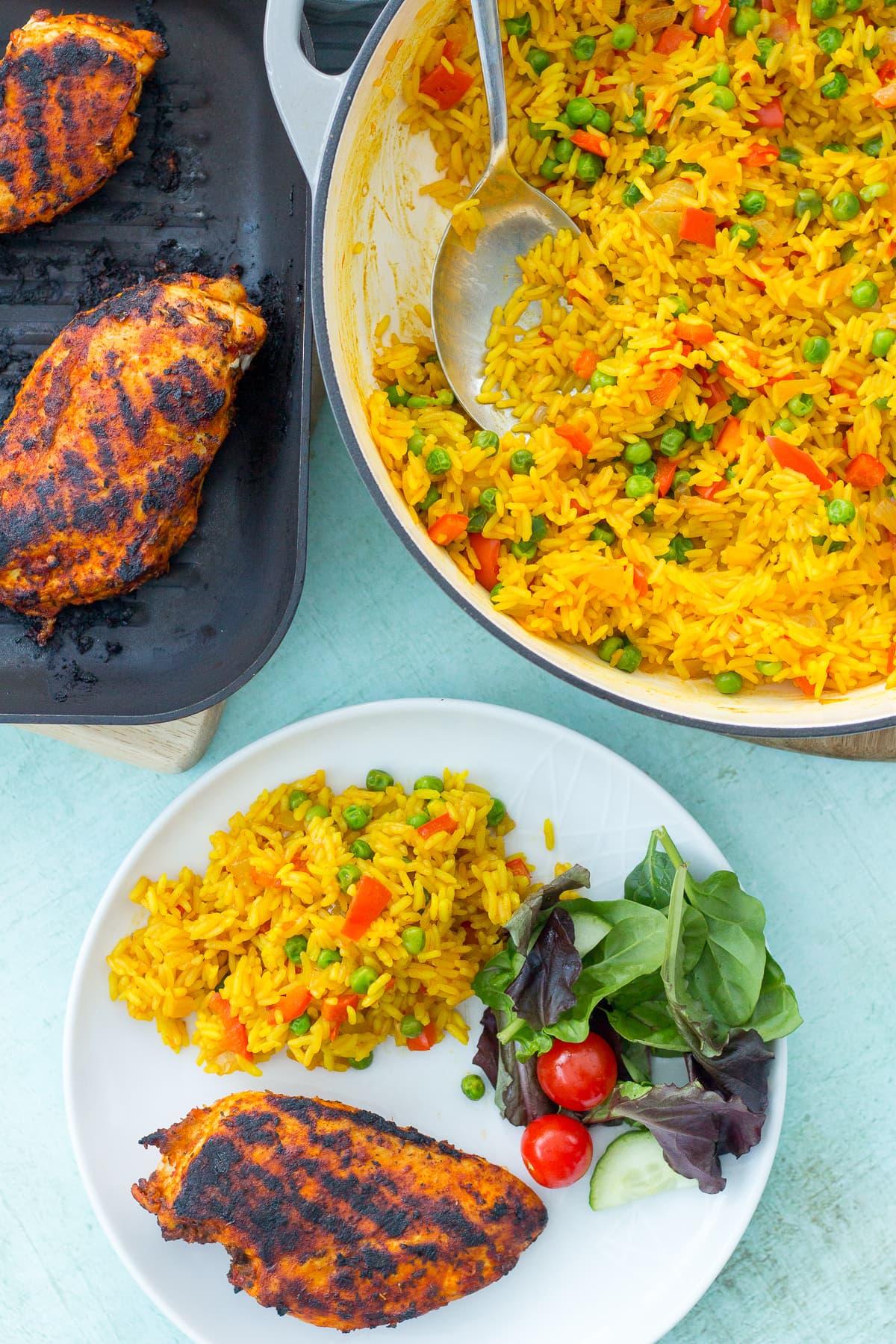 Nandos Peri Peri Chicken Breasts with Homemade Nandos Spicy Rice