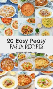 Hands up who loves pasta? And with these 20 Easy Peasy Pasta Recipes, you'll never be stuck for ideas for this midweek meals staple! Everything from chorizo macaroni cheese to pepperoni pizza pasta bake, chicken bolognese to hidden vegetable pasta sauce and even smoked salmon pasta - there's something to please everyone! #pasta #pastarecipe #pastarecipes #easydinners #midweekmeals #easymeals #easyrecipes #familydinners #easypeasyfoodie #cookblogshare