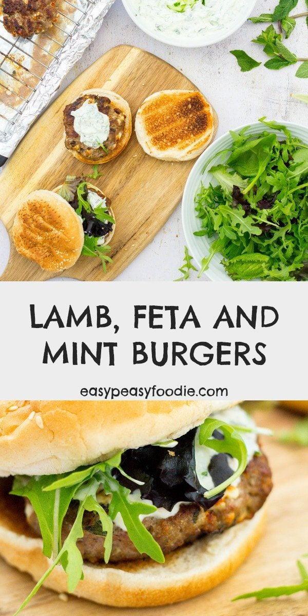 Fancy a burger with a bit of a twist? Why not try these Lamb, Feta and Mint burgers. Quick and simple to make, but they taste AMAZING! #lamb #lambmince #lambburger #feta #mint #greekburger #burger #greekinspired #greekfood #tazatziki #BBQ #summer #easydinners #easyrecipes #familydinners #midweekmeals #easypeasyfoodie #cookblogshare