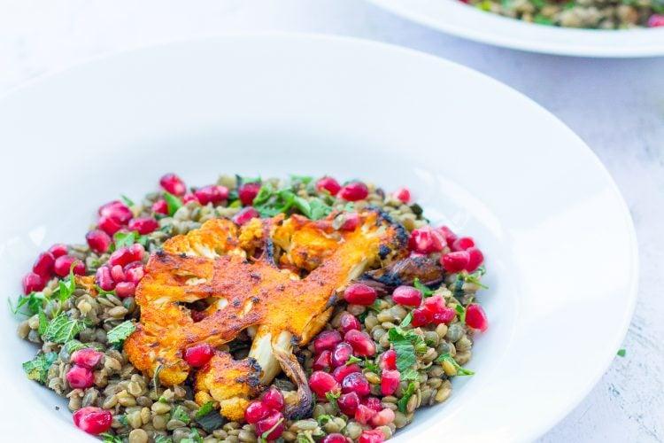 Harissa Spiced Cauliflower Steaks with Herby Green Lentils (Vegan)