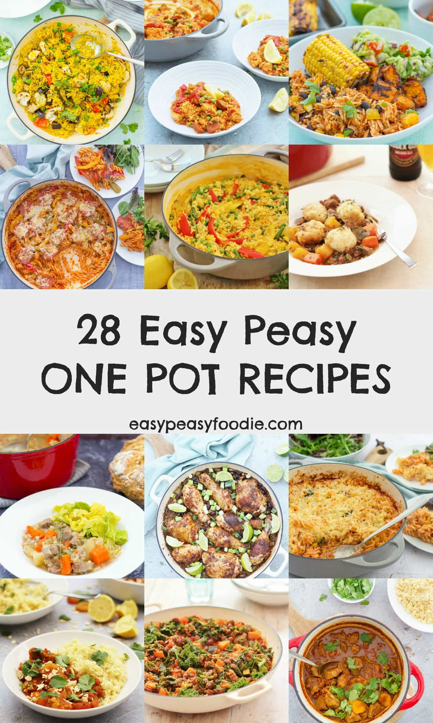 Quick and easy to make and only one pan to wash up - hooray! These 28 Easy One Pot Recipes are perfect for busy weeknight evenings... or any time when you want less mess and less stress! #onepot #onepots #onepotrecipes #onepotmeals #onepotdinners #easyonepots #easydinners #easyrecipes #familydinners #midweekmeals #easypeasyfoodie #cookblogshare