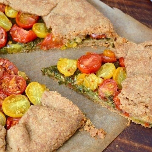 Tomato Galette with Homemade Basil Pesto