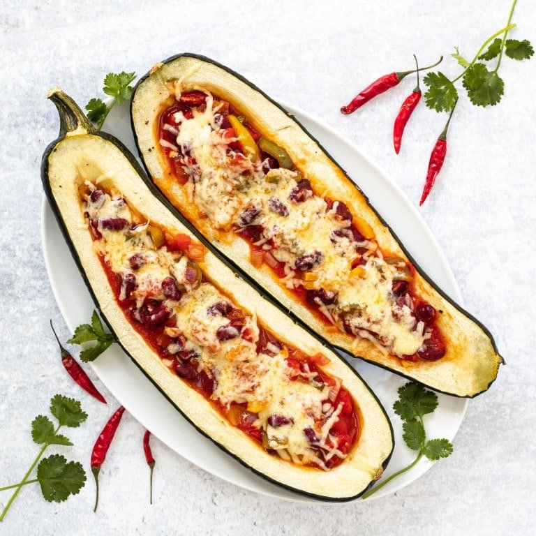 Vegetarian Stuffed Marrow with Veggie Chilli