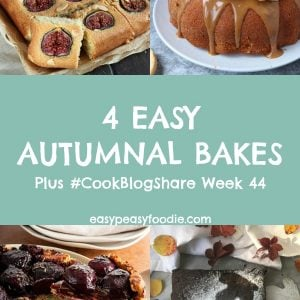 With wet, grey days and chilly, dark evenings - autumn is now in full swing. These 4 Easy Autumnal Bakes will make your house smell wonderful and cheer you up when the weather outside is miserable! Plus find the linky for #CookBlogShare Week 44. #baking #bakes #autumnbaking #fallbaking #fallbakes #autumnbakes #bundtcake #gingerbread #tartetatin #traybake #figs #autumnflavours #fallflavors #easybaking #easypeasyfoodie