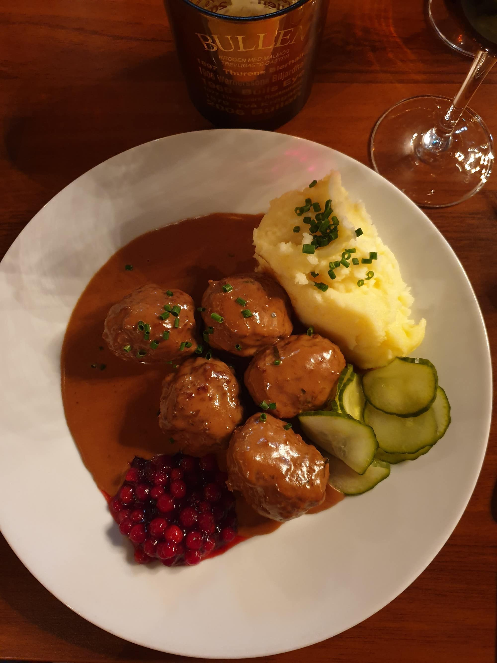 Swedish Meatballs Mashed Potato Lingonberry Jam and Pickled Cucumber at Bullen Malmo