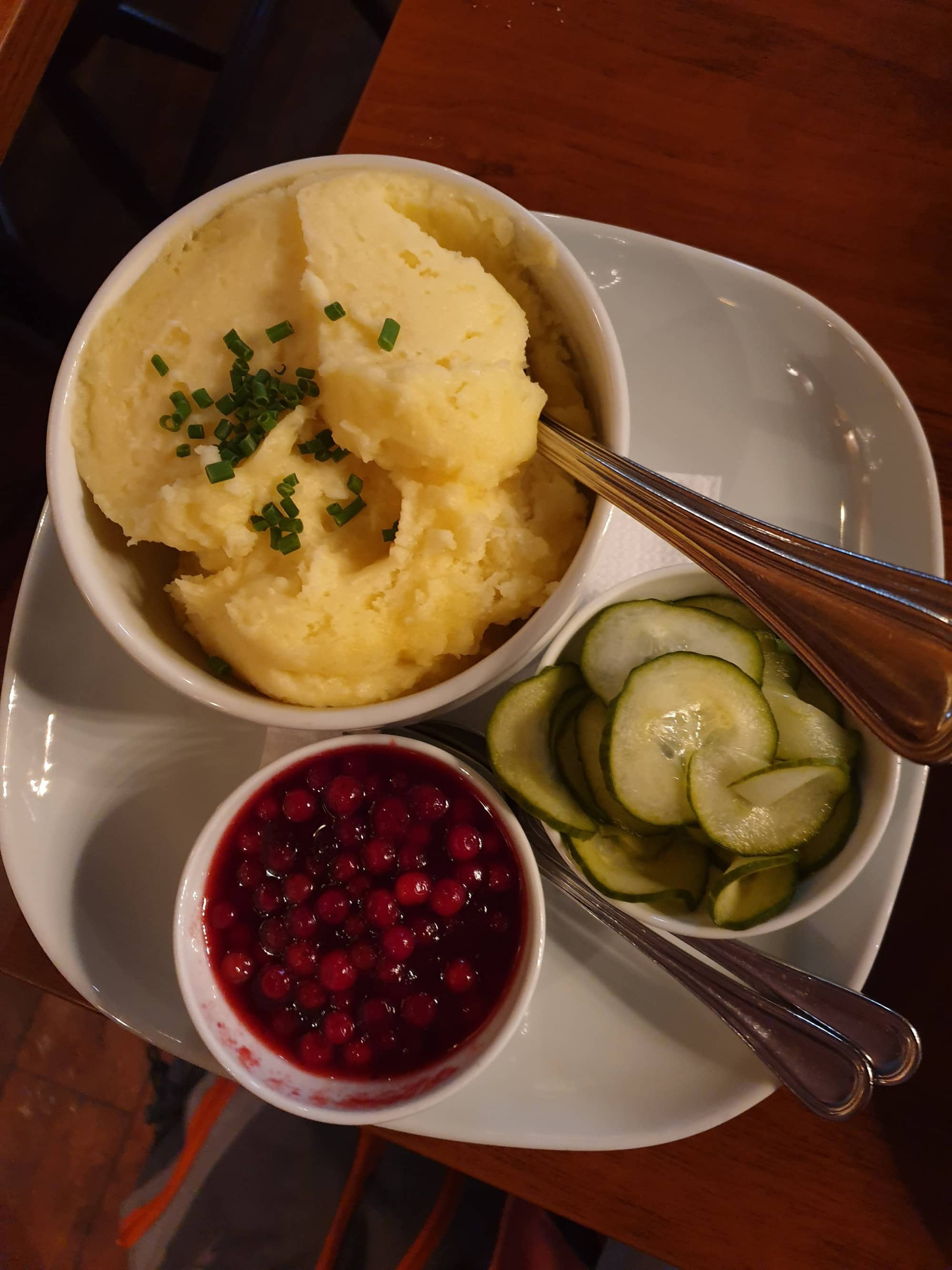 Mashed Potato Lingonberry Jam and Pickled Cucumber at Bullen Malmo