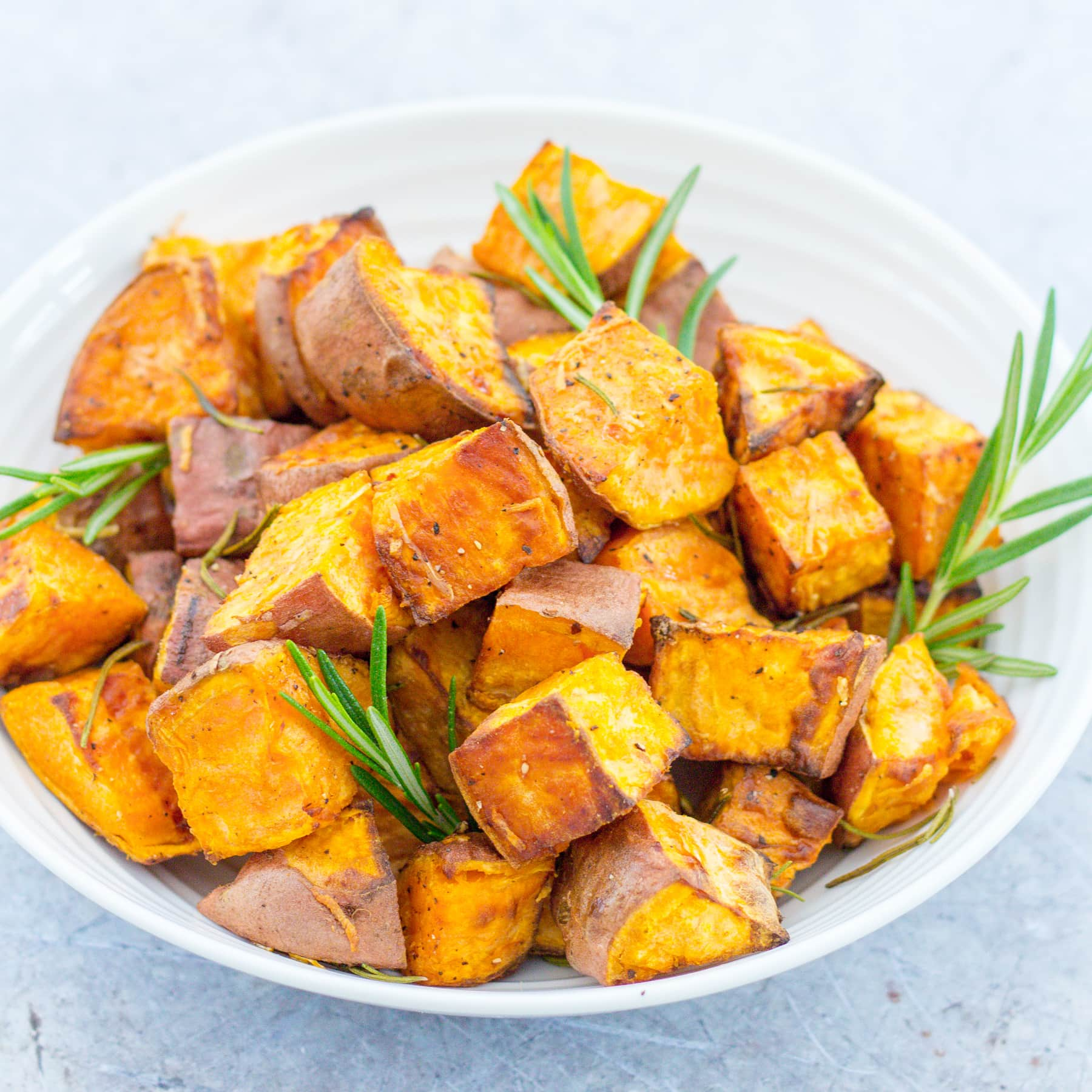 Easy Roast Sweet Potatoes With Rosemary And Garlic Easy Peasy Foodie