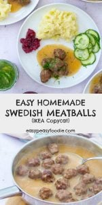 IKEA style Swedish Meatballs are so easy to make at home! My Easy Swedish Meatballs recipe can be ready in just 30 minutes… serve with creamy gravy, mash and lingonberry jam for the full IKEA experience at home! #IKEAmeatballs #swedishmeatballs #homemadeIKEAmeatballs #homemadeswedishmeatballs #homemademeatballs #meatballs #IKEAcopycat #easydinners #familydinners #fakeaway #midweekmeals #easypeasyfoodie #cookblogshare