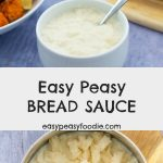 Perfect with roast chicken or roast turkey, this Easy Peasy Bread Sauce is quick and simple to make and knocks the socks off powdered packet bread sauce. Once you've tasted the real deal, there's no going back! #breadsauce #easybreadsauce #easypeasybreadsauce #roastchicken #roastturkey #roastdinner #roastdinnersauces #roastdinnersides #christmasdinnersauces #christmasdinnersides #easysauce #easysidedish #homemadebreadsauce #classicbreadsauce #quickbreadsauce #christmasdinner #christmaslunch #easypeasyfoodie