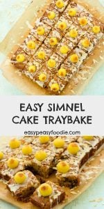 All the delicious flavour of a classic simnel cake in traybake form! This Easy Simnel Cake Traybake is perfect for Mother's Day or Easter. Reinventing this traditional British Easter cake as a traybake makes it easy to transport and cut – so ideal for Easier bakesales, parties, gatherings etc. #simnelcake #eastercake #simnelcaketraybake simneltraybake #eastertraybake #eastertraybakecake #easterbaking #easterfood #easterrecipe #mothersdaycake #motheringsundaycake #simnelsunday #easybaking #easyrecipes #easypeasyfoodie #cookblogshare
