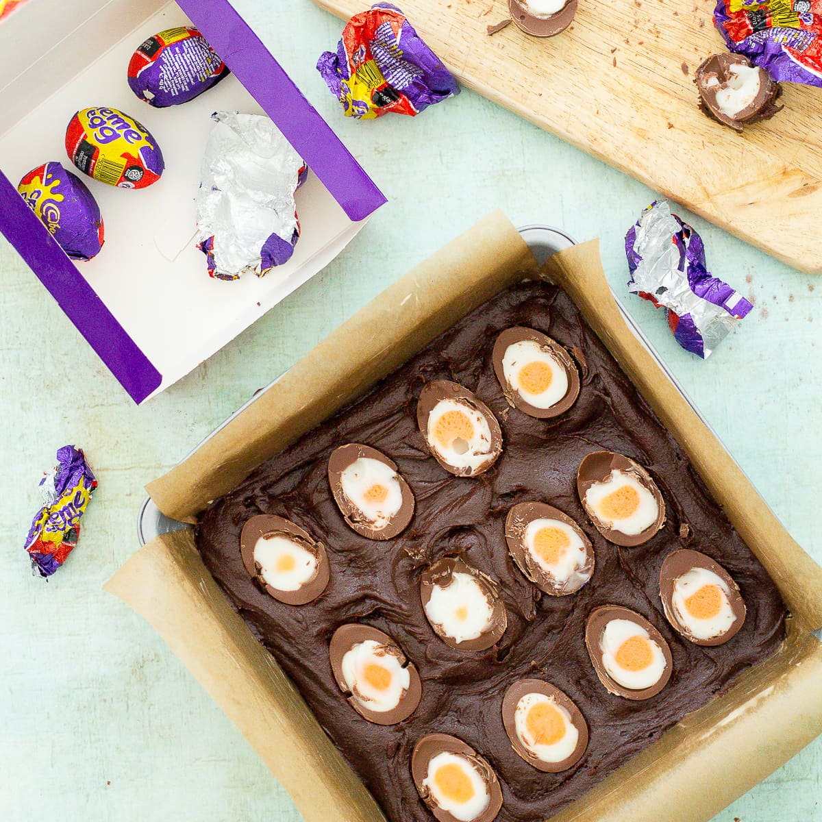 Easy Creme Egg Brownies ready for the oven