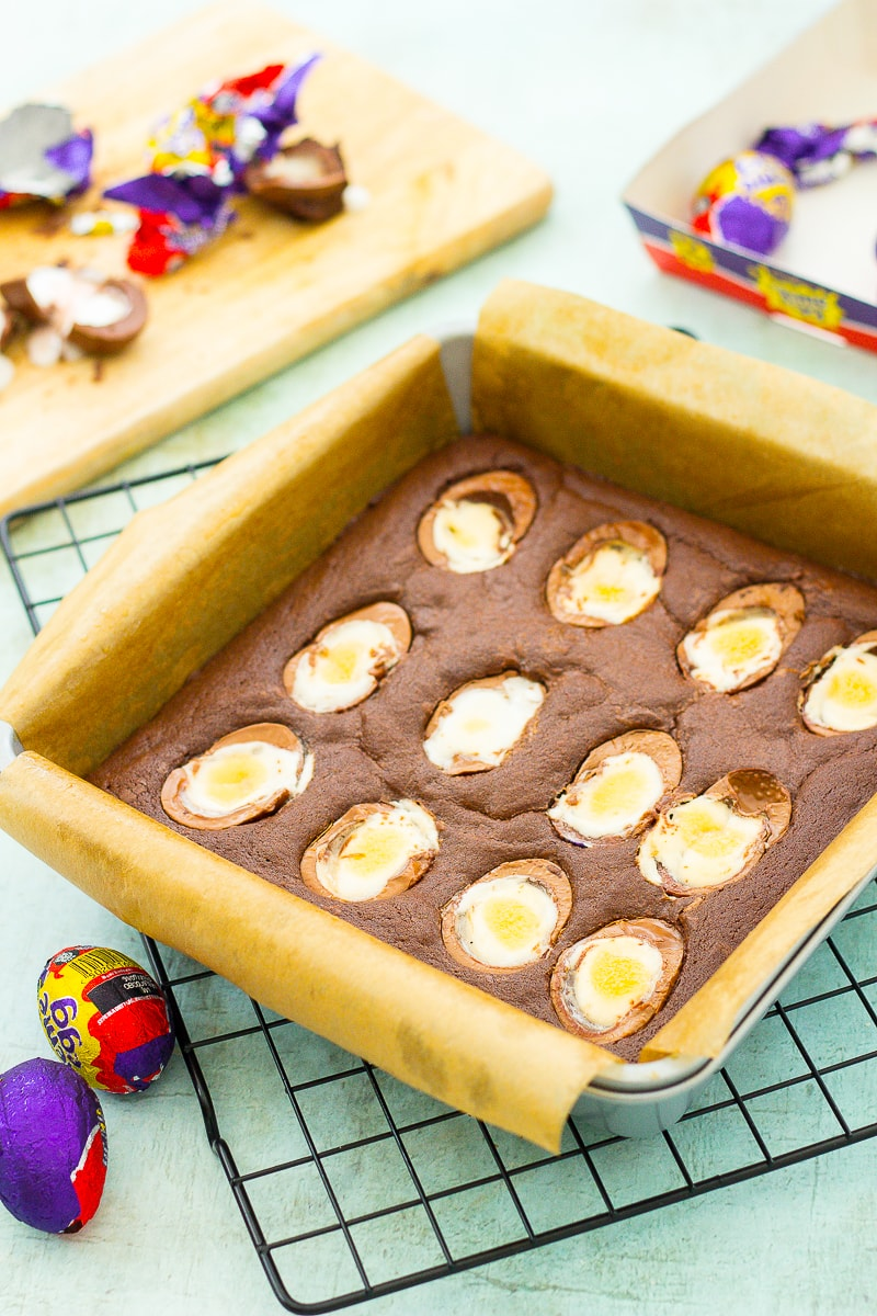 Easy Creme Egg Brownies just out of the oven