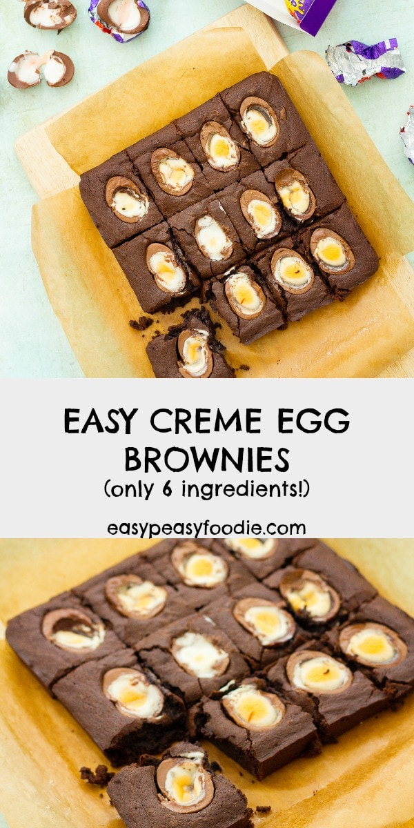 Delicious, squidgy, fudgy brownies with half a creme egg nestled in each slice. Better still, this Easy Creme Egg Brownies recipe is quick and easy to make and only uses 6 ingredients! #cremeegg #cremeeggs #brownies #cremeeggbrownies #easter #easterbrownies #6ingredients #6ingredientbrownies #easybrownies #easybaking #easterbaking #easyeasterbaking #easyrecipe #easypeasyfoodie #cookblogshare