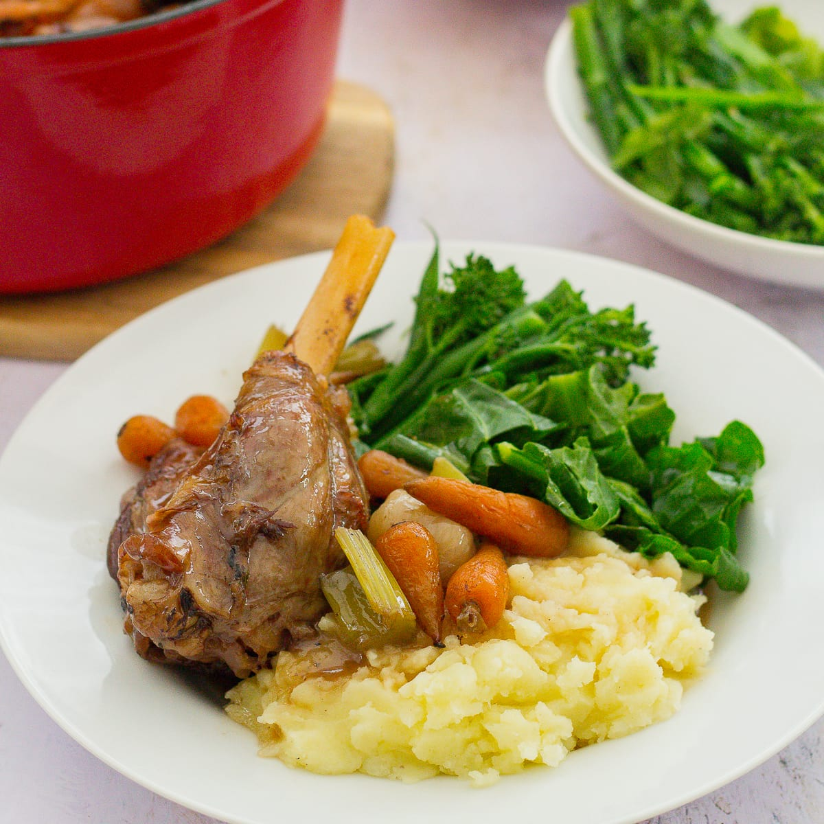 Slow Cooked Lamb Shanks with Red Wine Gravy
