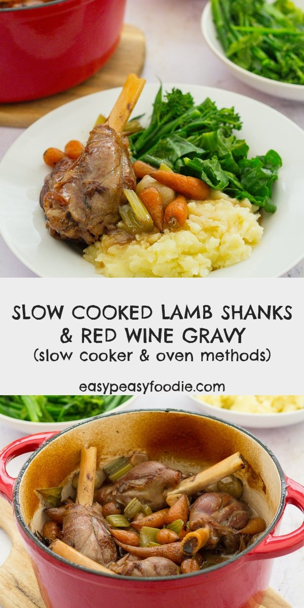 Quick prep but a long slow cook means these Slow Cooked Lamb Shanks are meltingly tender but packed full of flavour and the Red Wine Gravy is out of this world! #slowcooked #lambshanks #slowcooker #crockpot #slowcooking #lamb #slowcookedlamb #redwinegravy #easter #roastdinner #roastlamb #potroast #potroastlamb #easyentertaining #easymeals #easydinners #dinnertonight #dinnertonite #familydinners #familyfood #onepot #onepotdinner #glutenfree #dairyfree #easypeasyfoodie